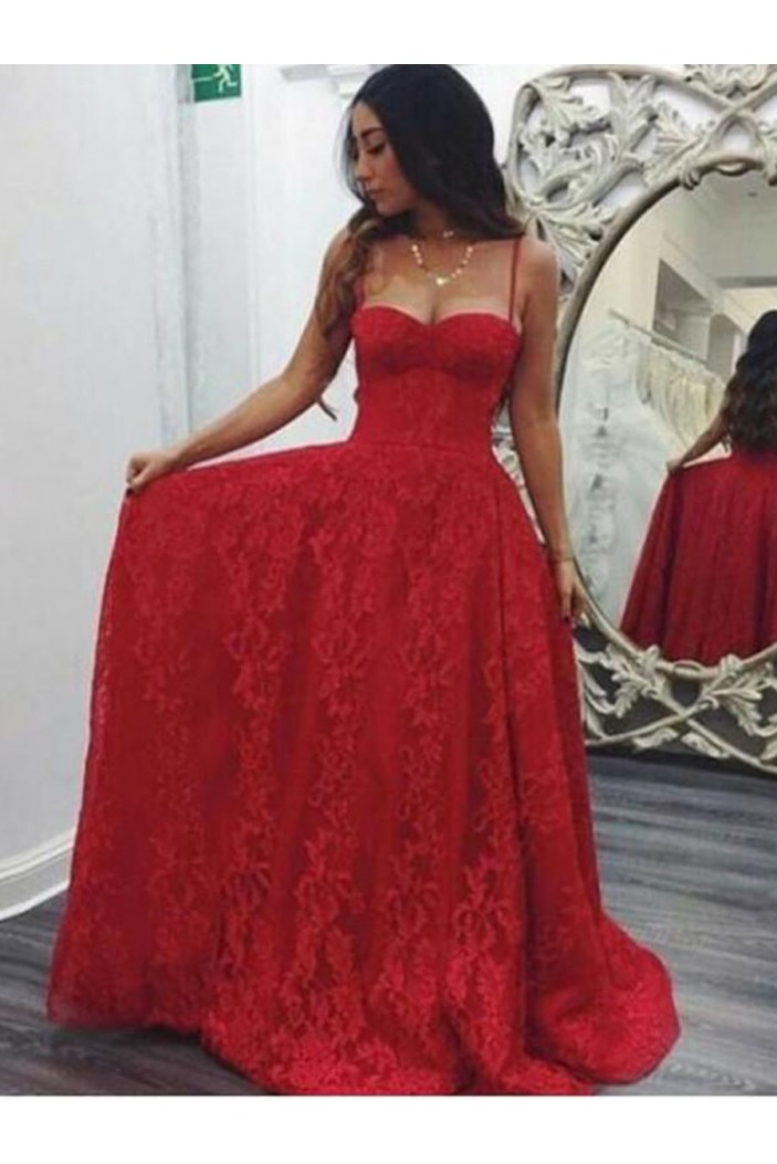 A-Line Sweetheart Lace Long Prom Dresses Formal Evening Dresses 601240