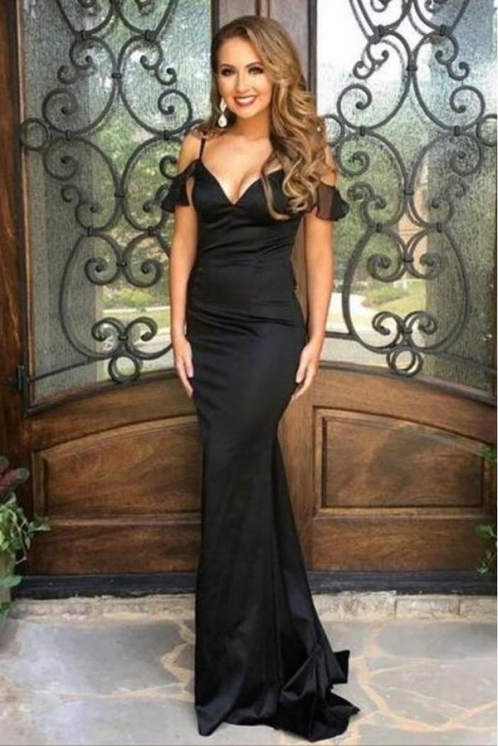 Mermaid V-Neck Long Black Prom Dresses Formal Evening Dresses 601243