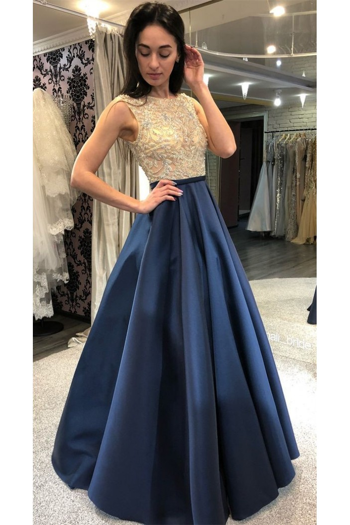 A-Line Beaded Long Prom Dresses Formal Evening Dresses 601244