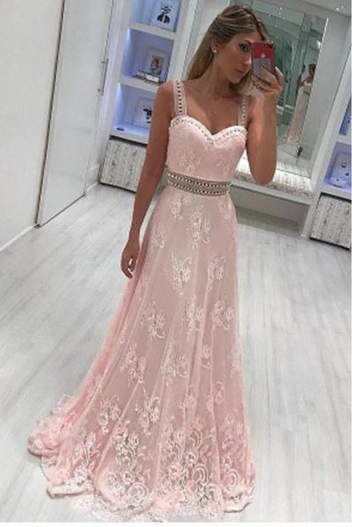 A-Line Beaded Lace Long Prom Dresses Formal Evening Dresses 601246