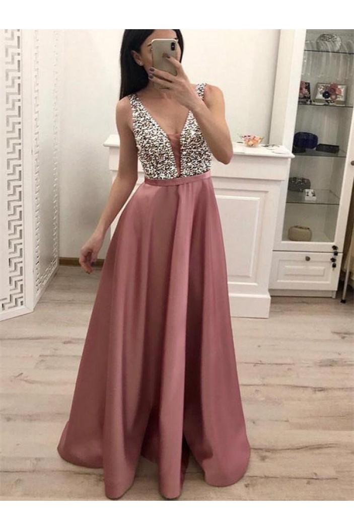 A-Line V-Neck Beaded Long Prom Dresses Formal Evening Dresses 601247