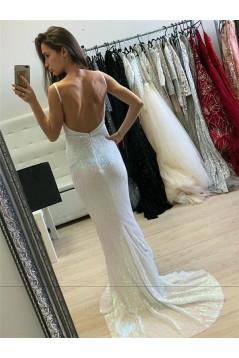 Long White Sequins Prom Dresses Formal Evening Dresses 601249
