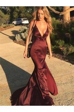Sexy Mermaid V-Neck Long Prom Dresses Formal Evening Dresses 601252