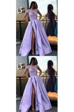 A-Line Beaded Long Prom Dresses Formal Evening Dresses 601254