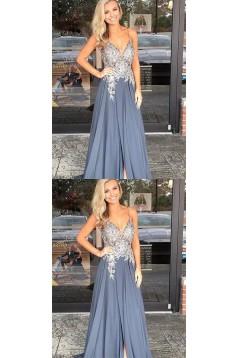 A-Line V-Neck Beaded Lace Chiffon Long Prom Dresses Formal Evening Dresses 601255