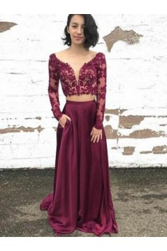 Long Sleeves Two Pieces Lace Long Prom Dresses Formal Evening Dresses 601256