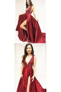 A-Line V-Neck Beaded Lace Long Prom Dresses Formal Evening Dresses 601257