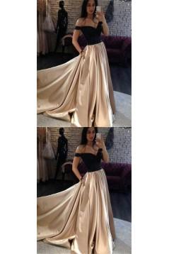 A-Line Off-the-Shoulder Beaded Long Prom Dresses Formal Evening Dresses 601258