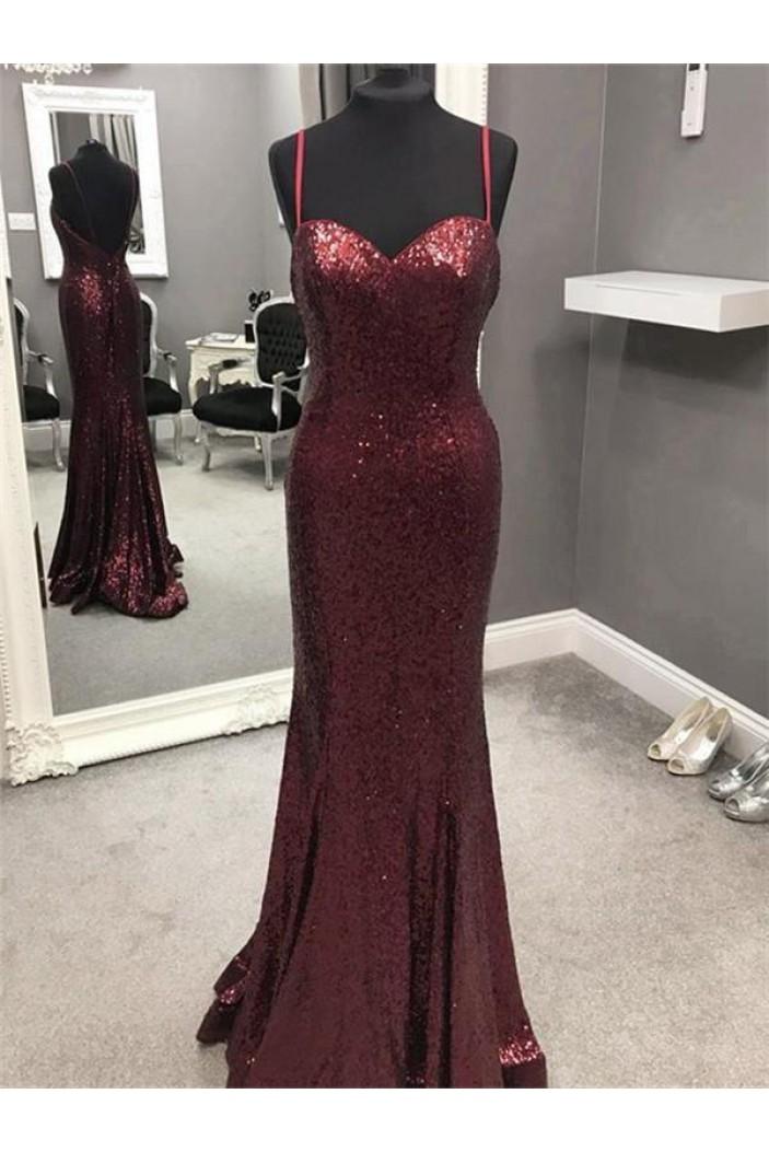Mermaid Sequins Long Prom Dresses Formal Evening Dresses 601259