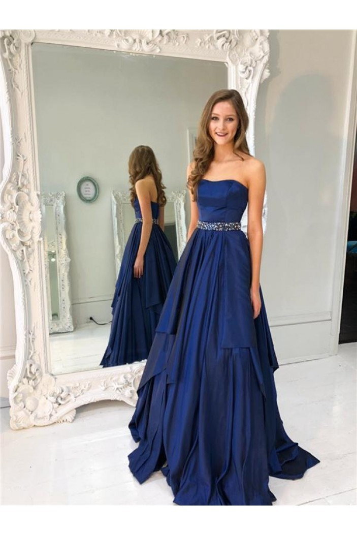 A-Line Strapless Beaded Long Prom Dresses Formal Evening Dresses 601260