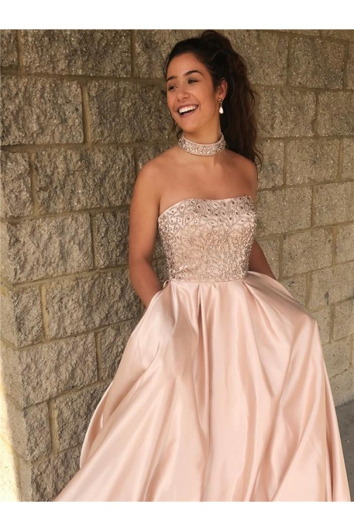 A-Line Strapless Beaded Long Prom Dresses Formal Evening Dresses 601261