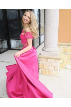 Two Pieces Off-the-Shoulder Long Prom Dresses Formal Evening Dresses 601262