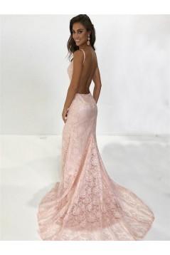 Backless V-Neck Lace Long Prom Dresses Formal Evening Dresses 601267