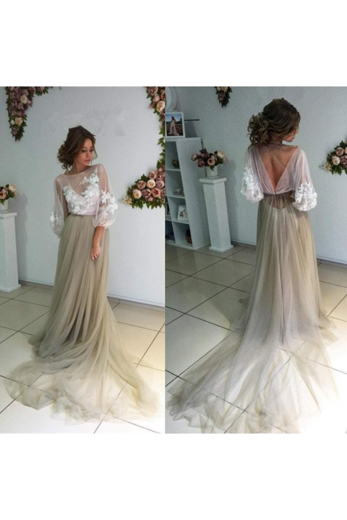 Lace and Tulle Long Prom Dresses Formal Evening Dresses 601268