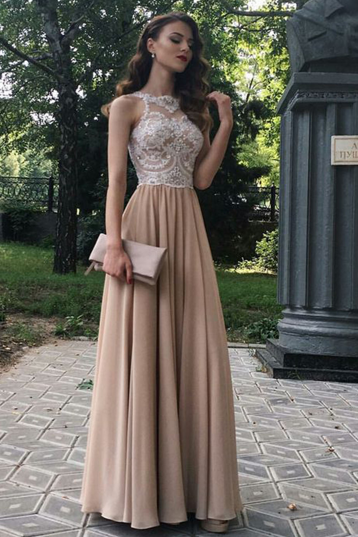 A-Line Beaded Lace Chiffon Long Prom