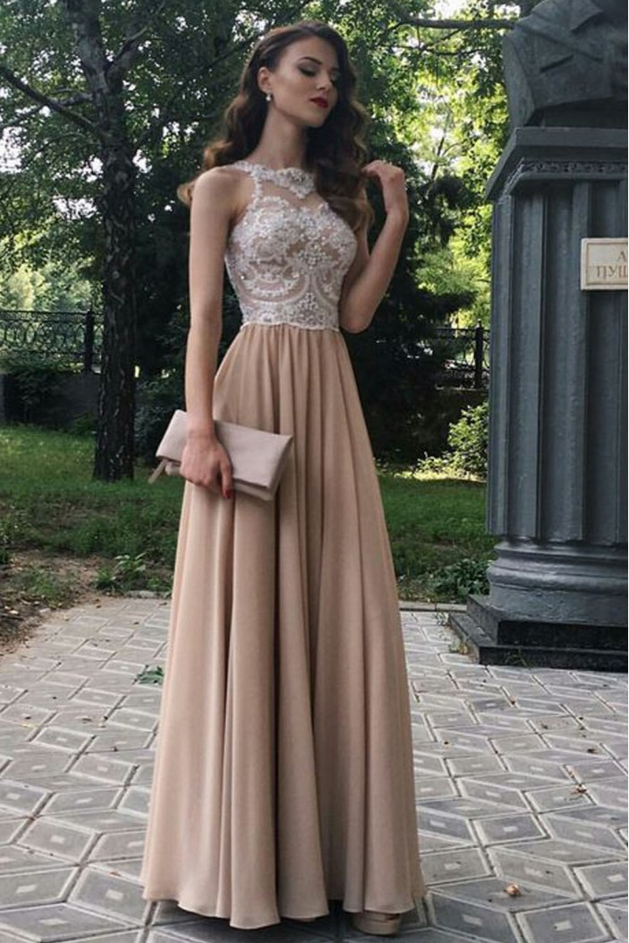 A-Line Beaded Lace Chiffon Long Prom Dresses Formal Evening Dresses 601269
