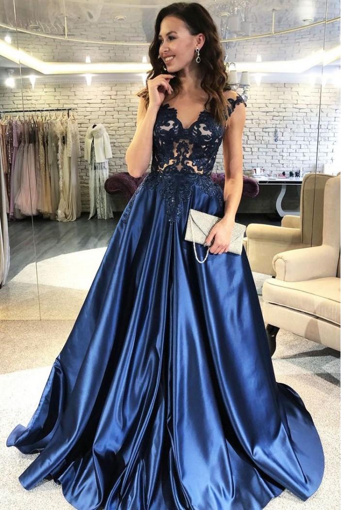 A-Line V-Neck Lace Long Prom Dresses Formal Evening Dresses 601273