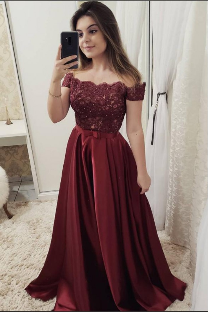 A-Line Off-the-Shoulder Beaded Lace Long Prom Dresses Formal Evening Dresses 601277