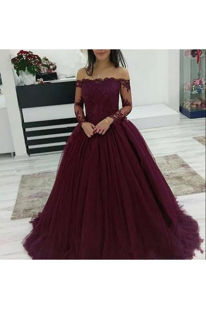 Ball Gown Off-the-Shoulder Lace Long Prom Dresses Formal Evening Dresses 601279