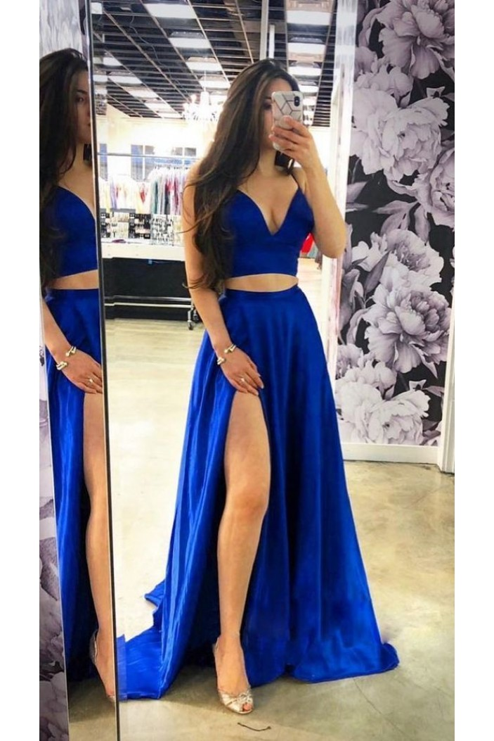 Two Pieces Long Prom Dresses Formal Evening Dresses 601281