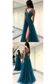 A-Line Beaded Lace Tulle Long Prom Dresses Formal Evening Dresses 601284