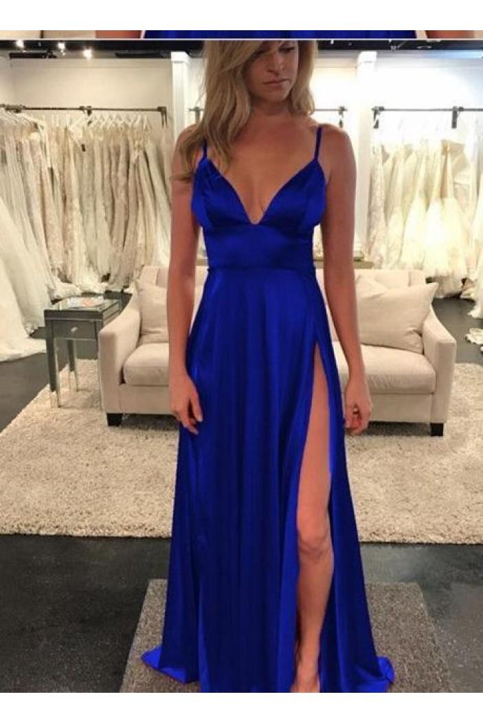 A-Line V-Neck Long Prom Dresses Formal Evening Dresses 601286