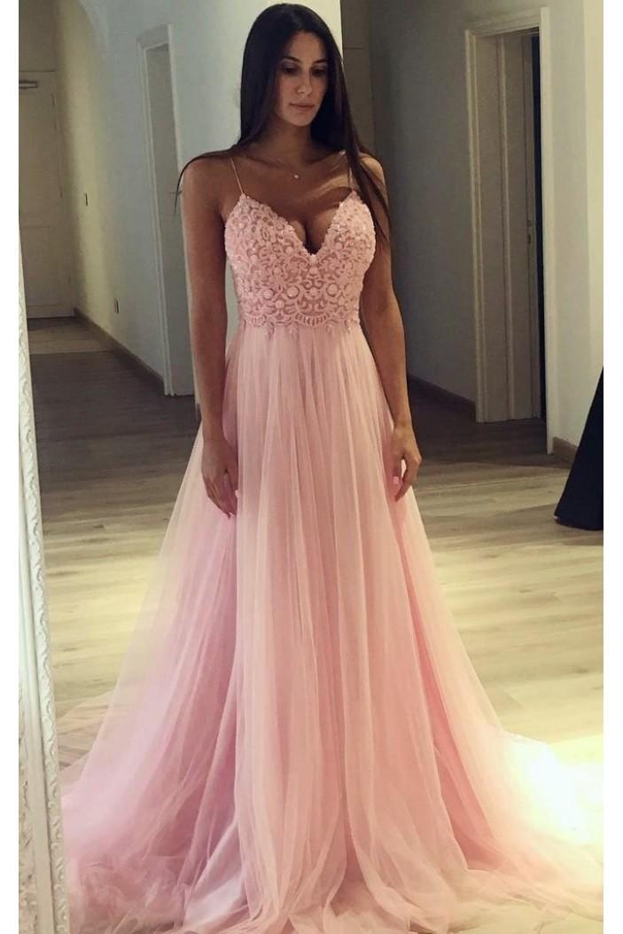 A-Line V-Neck Long Pink Lace Tulle Long Prom Dresses Formal Evening Dresses 601287