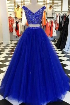 Beaded Tulle Two Pieces Long Prom Dresses Formal Evening Dresses 601291