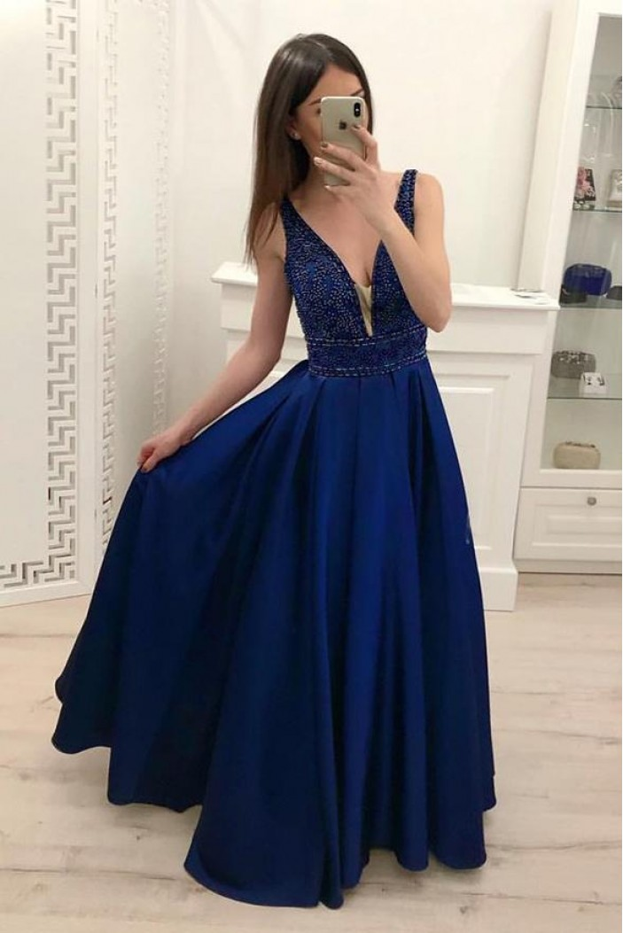 A-Line V-Neck Beaded Long Prom Dresses Formal Evening Dresses 601297