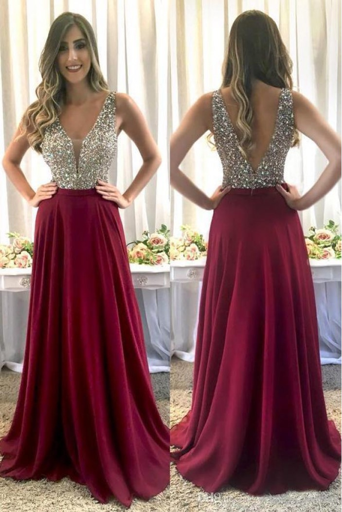 A-Line Beaded Long Prom Dresses Formal Evening Dresses 601300