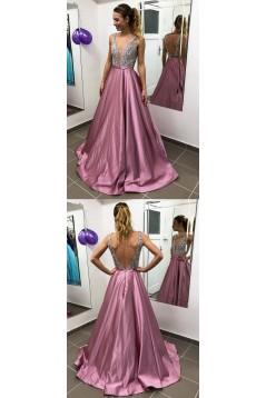 A-Line Beaded Long Prom Dresses Formal Evening Dresses 601302