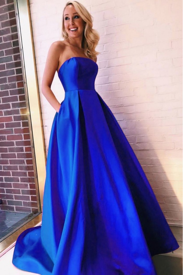 A-Line Strapless Long Prom Dresses Formal Evening Dresses 601303