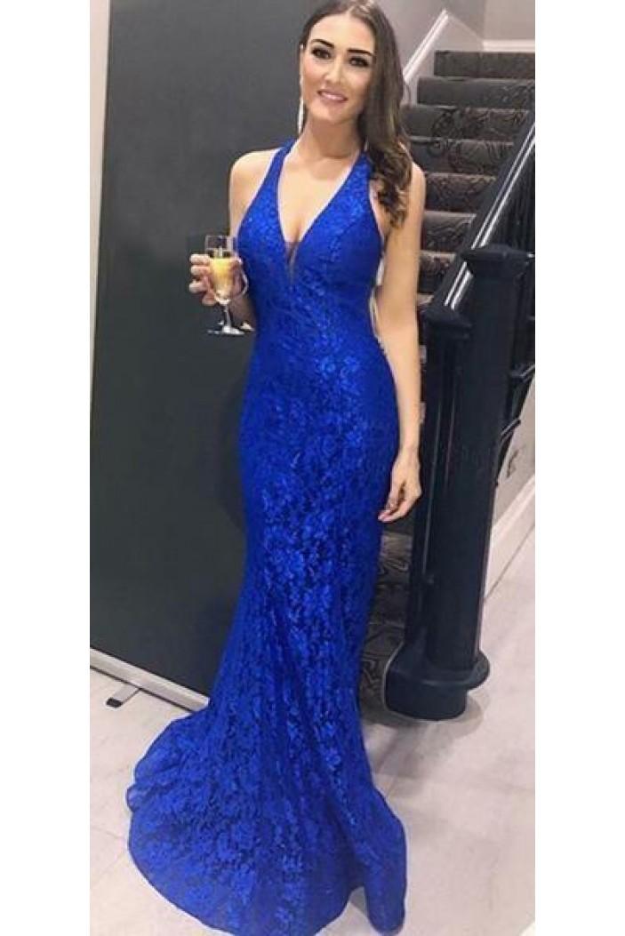 Mermaid V-Neck Lace Long Prom Dresses Formal Evening Dresses 601304