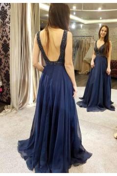 A-Line Beaded Long Prom Dresses Formal Evening Dresses 601306
