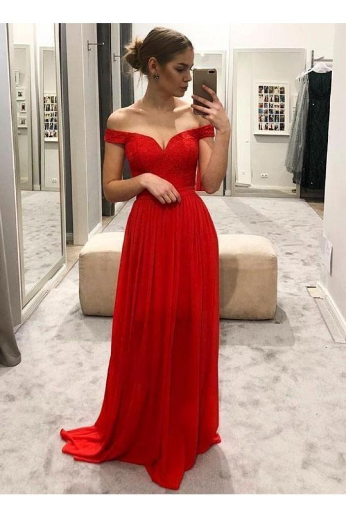 A-Line Off-the-Shoulder Lace Long Prom Dresses Formal Evening Dresses 601307