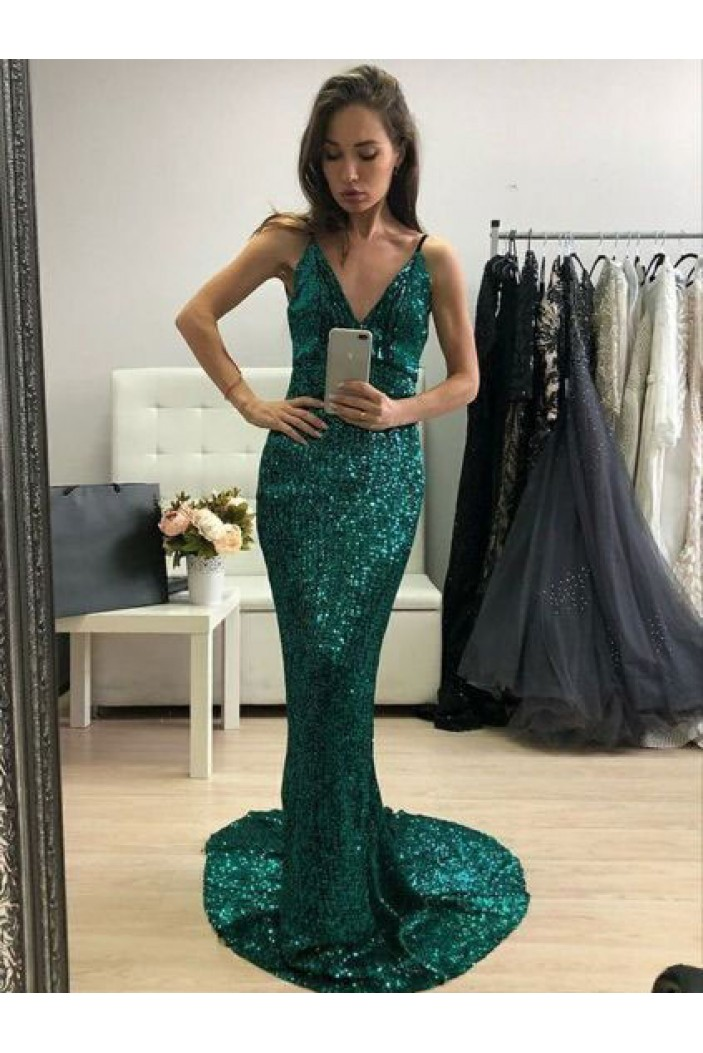 Sexy Backless Mermaid Sequins Spaghetti Straps Long Prom Dresses Formal Evening Dresses 601309