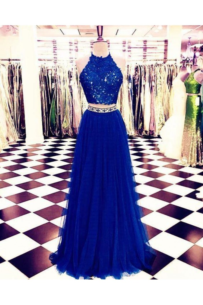 A-Line Two Pieces Beaded Lace Long Prom Dresses Formal Evening Dresses 601312