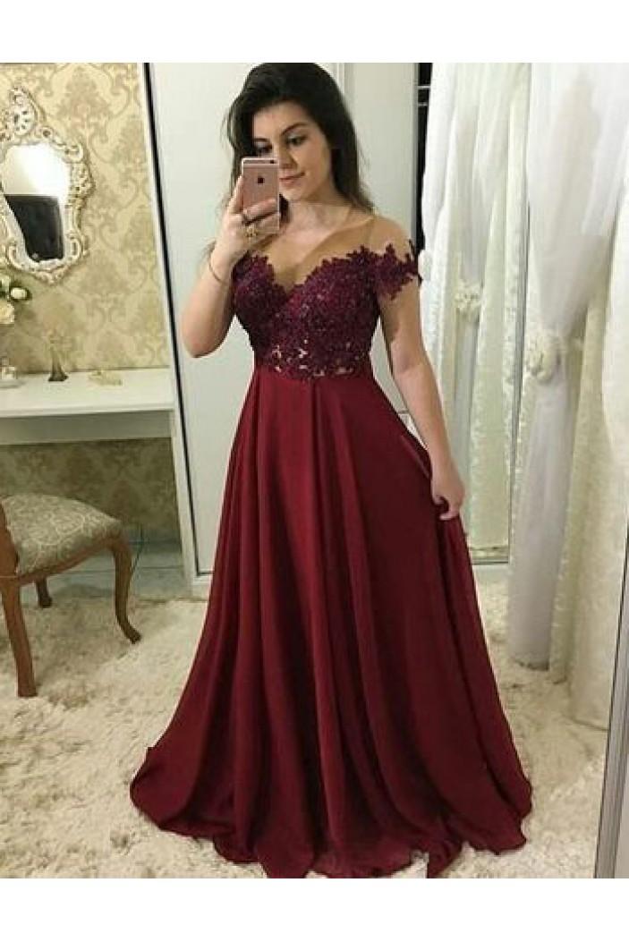 A-Line Off-the-Shoulder Lace Long Prom Dresses Formal Evening Dresses 601313