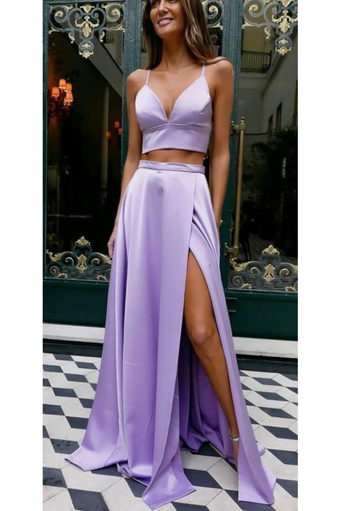 Spaghetti Straps Two Pieces Long Prom Dresses Formal Evening Dresses 601315