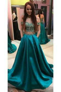 A-Line Two Pieces Lace Long Prom Dresses Formal Evening Dresses 601316