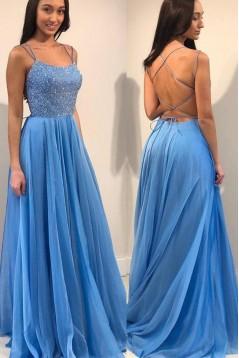 A-Line Chiffon Long Prom Dresses Formal Evening Dresses 601317