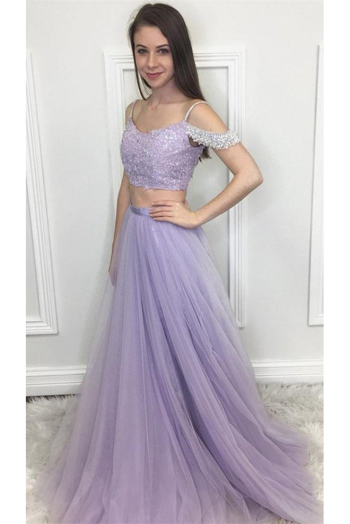 A-Line Beaded Two Pieces Long Prom Dresses Formal Evening Dresses 601319