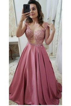 A-Line Beaded Lace Long Prom Dresses Formal Evening Dresses 601320