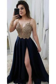 A-Line Beaded Lace V-Neck Long Prom Dresses Formal Evening Dresses 601321