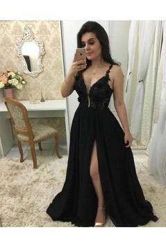A-Line Beaded Lace Chiffon Long Black Prom Dresses Formal Evening Dresses 601322