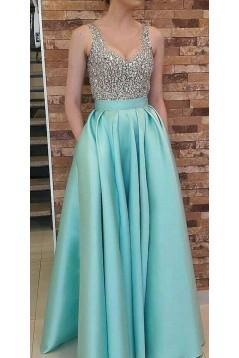 A-Line Beaded Long Prom Dresses Formal Evening Dresses 601324