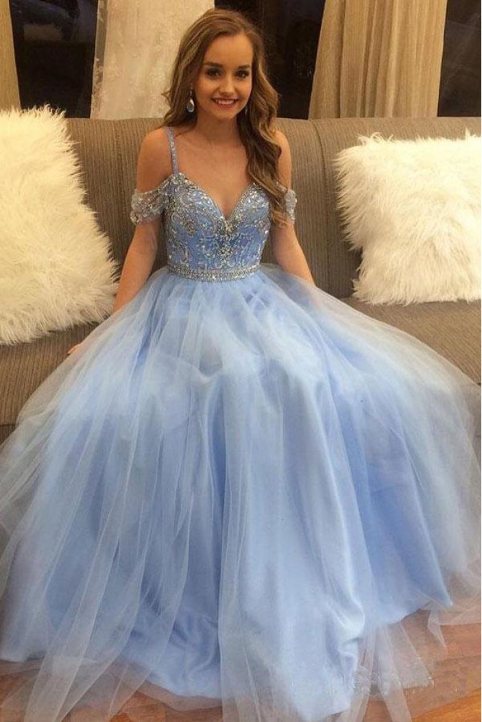 A-Line Beaded Long Prom Dresses Formal Evening Dresses 601329