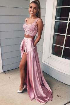 Two Pieces Lace Long Prom Dresses Formal Evening Dresses 601333