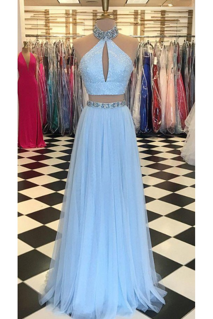A-Line Beaded Two Pieces Long Prom Dresses Formal Evening Dresses 601334