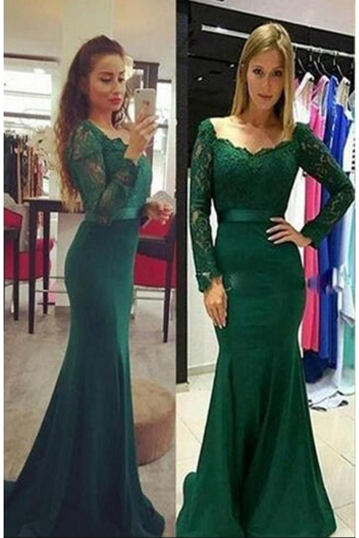 Mermaid Lace Long Sleeves Long Prom Dresses Formal Evening Dresses 601337